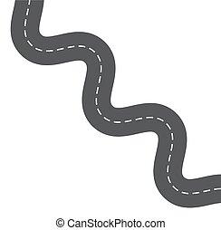 asfalto, isolado, rodovia, fundo, caminho, branca, estrada