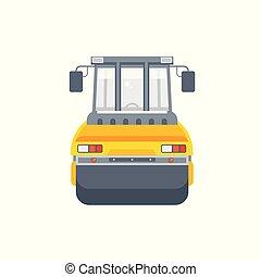 asfalto, paver, ilustração, máquina, vista dianteira