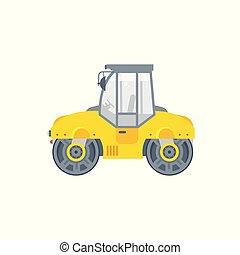 asfalto, paver, ilustração, máquina, vista lateral
