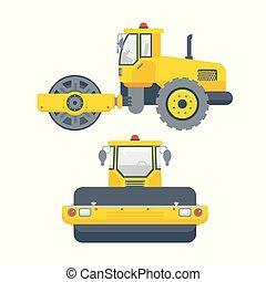 asfalto, paver, máquina, frente, vista lateral