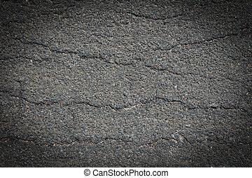 asfalto, rachado, textura, fundo