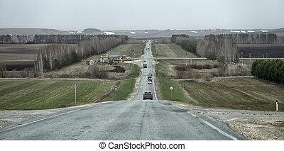 asfalto, tempestoso, campagna, cielo scuro, horizon., strada