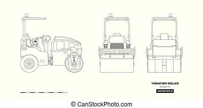 asfalto, vibratory, compactador, espalda, rodillo, aislado, frente, industrial, lado, style., dibujo, contorno, vista.