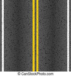 asfaltroad, med, märkning, fodrar