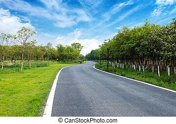 asfaltroad, under, den, sky