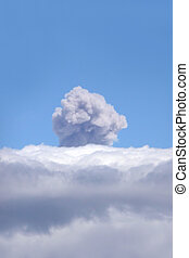 ash plume from an active volcano