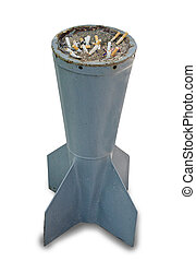 Ash tray of cigarette end isolated on white background