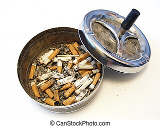 ash tray - metallic ash tray with cover and on half full of...