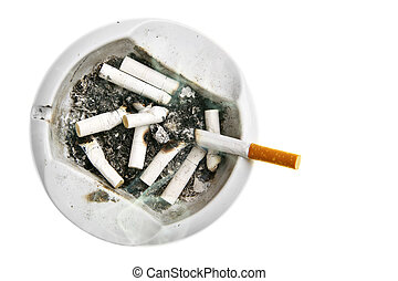 Ash-tray with cigarette stubs isolated over white background