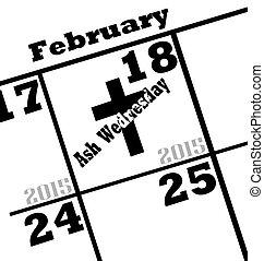 ash wednesday calendar date icon