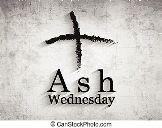 Illustration of cross made of ashes for Ash Wednesday