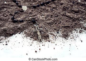 Ash wednesday christian cross symbol as a religion concept -...