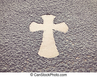 Ash Wednesday concept. - A religious cross formed out of...
