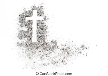 Ash wednesday cross, crucifix made of ash. Holiday, concept...