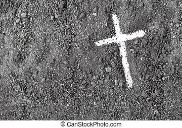 Ash Wednesday Cross. Lent. Christian religion.
