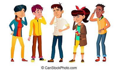 Ashamed Teenagers With Gesture Facepalm Set Vector....