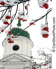 ashberry, brunches, neige, contre, église