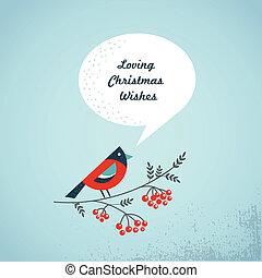 ashberry, oiseau, parole, fond, bulles, noël