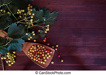 ashberry on wooden background with copy space