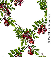 Ashberry Rhombic Branch Seamless Pattern with Berries and...
