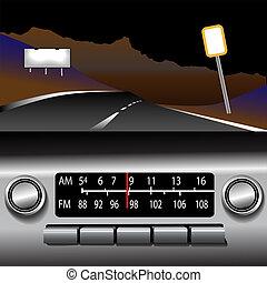 ashboard, 收音机, 上午, fm, 高速公路, 驅動, 背景