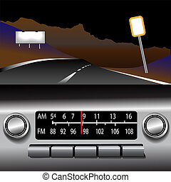 ashboard, radio, er, fm, motorväg, färd, bakgrund