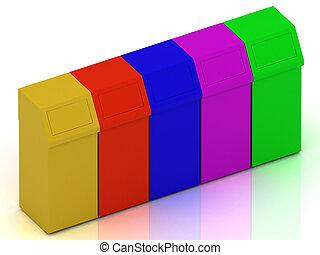 ashcan, basura, colorido, cajones