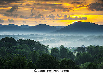 asheville, nc, blaue kante- berge, sonnenuntergang, und,...