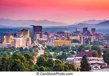 Asheville, North Carolina, USA at twilight.