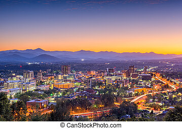 Asheville, North Carolina, USA downtown skyline at dusk.