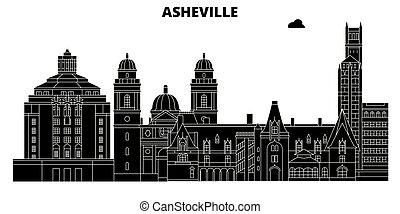 Asheville, United States, vector skyline, travel illustration, landmarks, sights.