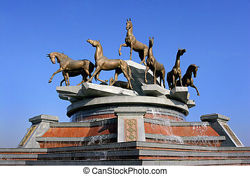 ashkhabad., rápido, escultural, turkmenistan., horses., ...