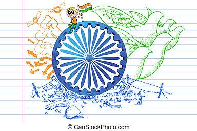 Ashok Chakra on Tricolor Doodle