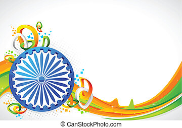 illustration of Ashok wheel on abstract tricolor Indian flag background