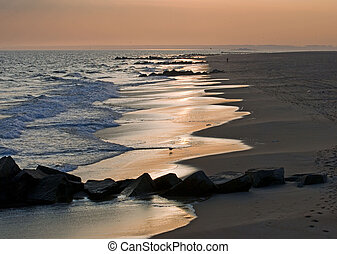 Ashore. Sunset at ocean