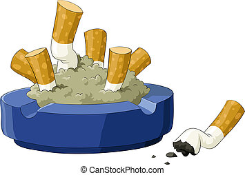 Ashtray - An ashtray with cigarette butts, vector...