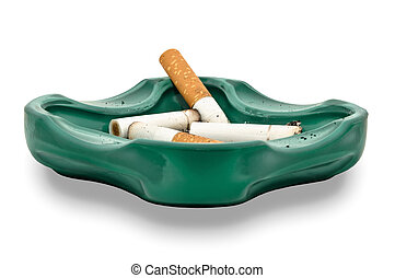 Ashtray and cigarette butts, isolated on white background -...