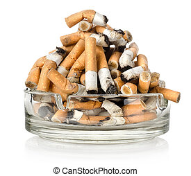 Ashtray and cigarettes - Cigarettes in an ashtray isolated...