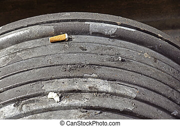 Ashtray and cigarettes close-up, stop smoking concept