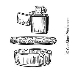 ashtray., cigarro, grabado, vector, encendedor, vendimia