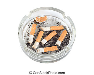 Ashtray isolated (Path) - Cigarettes in an ashtray isolated...