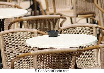 Ashtray on restaurant tables
