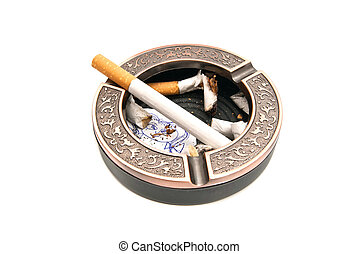 ashtray with butts and portrait of child