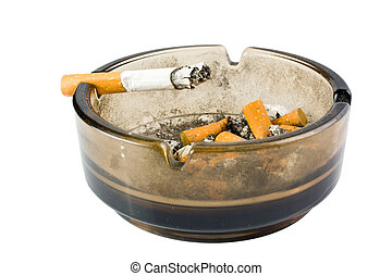 ashtray with cigarette on white background