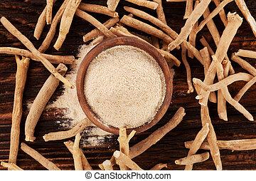 ashwagandha, raíces, y, polvo