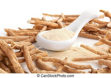 Ashwagandha superfood remedy - Ashwagandha powder with roots...