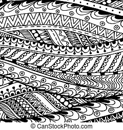 asiático, étnico, doodle, preto branco, padrão, em, vector.