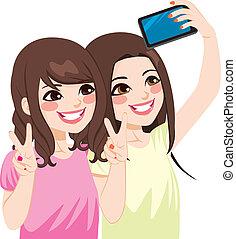 asiático, amigos, selfie