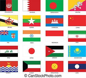 asiático, bandeiras