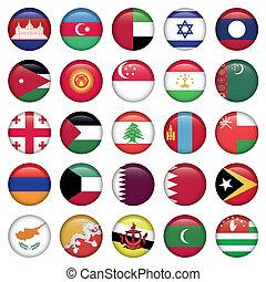 asiático, bandeiras, redondo, botões